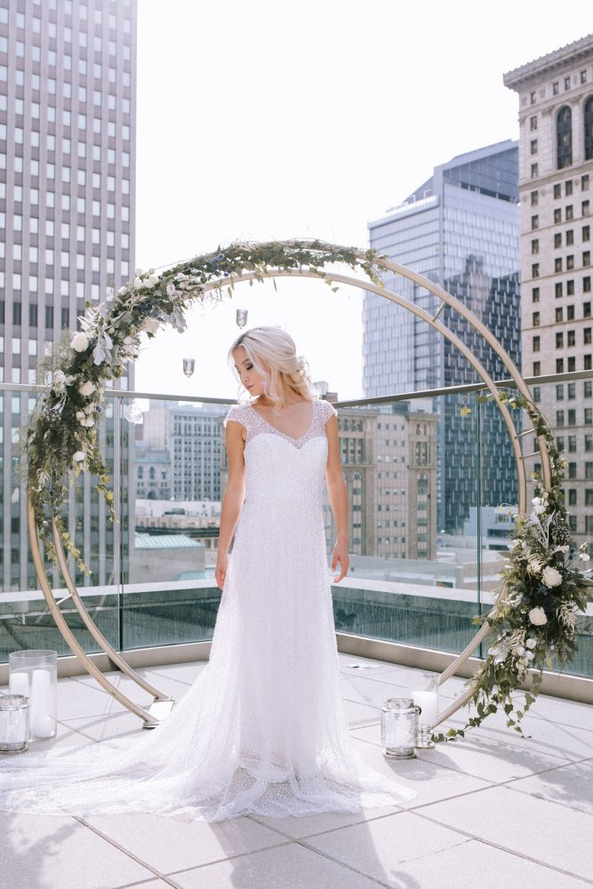 Rooftop Bridal Portraits: Blue & Gold Literary Inspired Wedding Styled Shoot from Kaitlin Powell Photography and Exhale Events featured on Burgh Brides