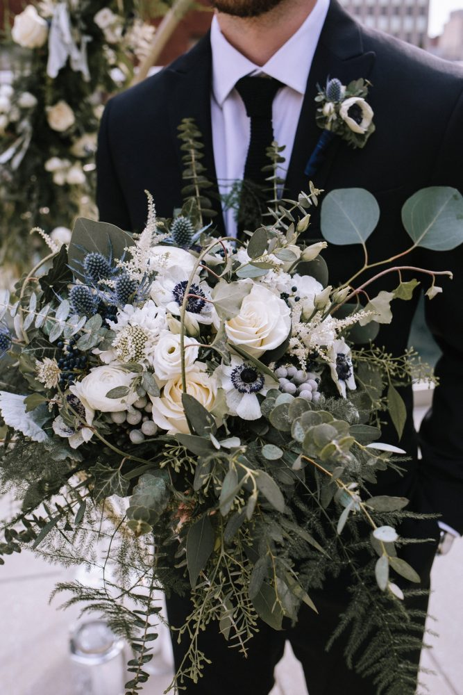 Blue, White, and Green Bridal Bouquet: Blue & Gold Literary Inspired Wedding Styled Shoot from Kaitlin Powell Photography and Exhale Events featured on Burgh Brides