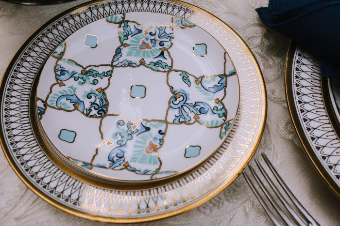Blue & Gold Wedding Tablescape Place Setting: Blue & Gold Literary Inspired Wedding Styled Shoot from Kaitlin Powell Photography and Exhale Events featured on Burgh Brides