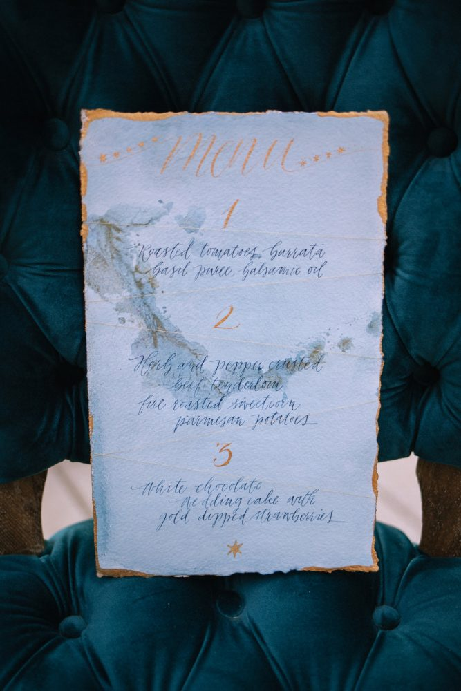 Blue & Gold Calligraphy Wedding Day Menu Cards: Blue & Gold Literary Inspired Wedding Styled Shoot from Kaitlin Powell Photography and Exhale Events featured on Burgh Brides