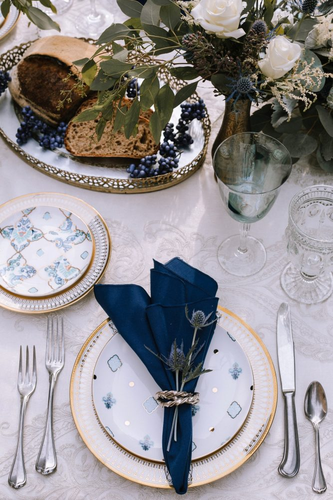 Blue & Gold Wedding Day Tablescape Place Setting: Blue & Gold Literary Inspired Wedding Styled Shoot from Kaitlin Powell Photography and Exhale Events featured on Burgh Brides