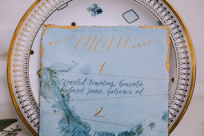 Blue & Gold Calligraphy Wedding Day Menu Card: Blue & Gold Literary Inspired Wedding Styled Shoot from Kaitlin Powell Photography and Exhale Events featured on Burgh Brides