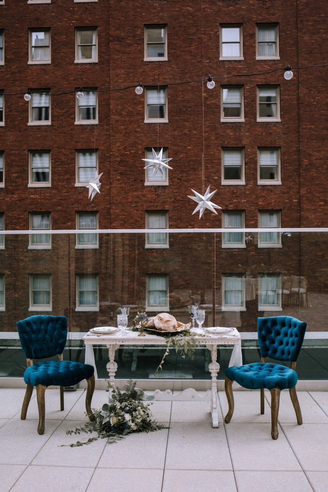 Rooftop Wedding Inspiration: Blue & Gold Literary Inspired Wedding Styled Shoot from Kaitlin Powell Photography and Exhale Events featured on Burgh Brides