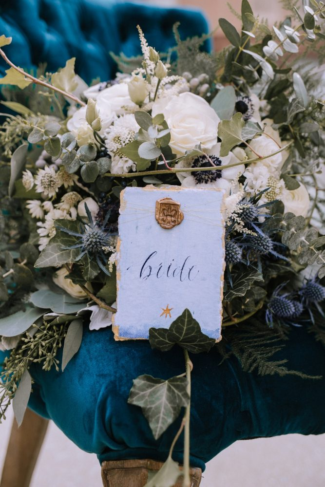 Blue & Gold Calligraphy Wedding Day Signs: Blue & Gold Literary Inspired Wedding Styled Shoot from Kaitlin Powell Photography and Exhale Events featured on Burgh Brides