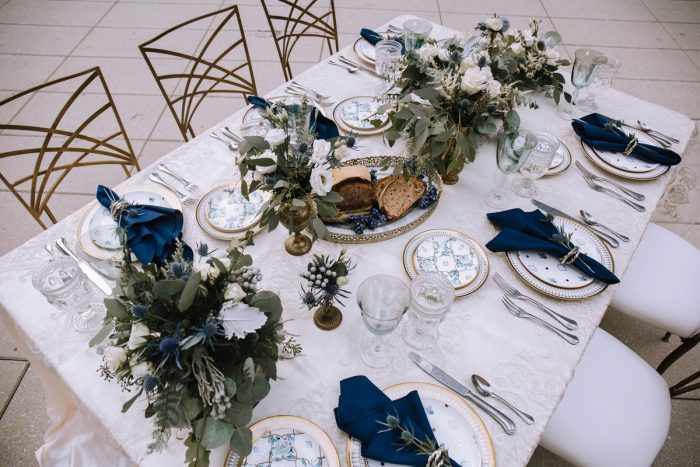 Blue & Gold Wedding Day Tablescape: Blue & Gold Literary Inspired Wedding Styled Shoot from Kaitlin Powell Photography and Exhale Events featured on Burgh Brides
