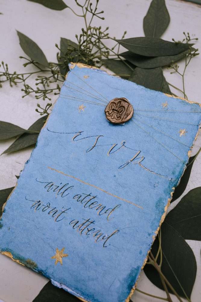 Blue & Gold Wedding Day Invitations: Blue & Gold Literary Inspired Wedding Styled Shoot from Kaitlin Powell Photography and Exhale Events featured on Burgh Brides