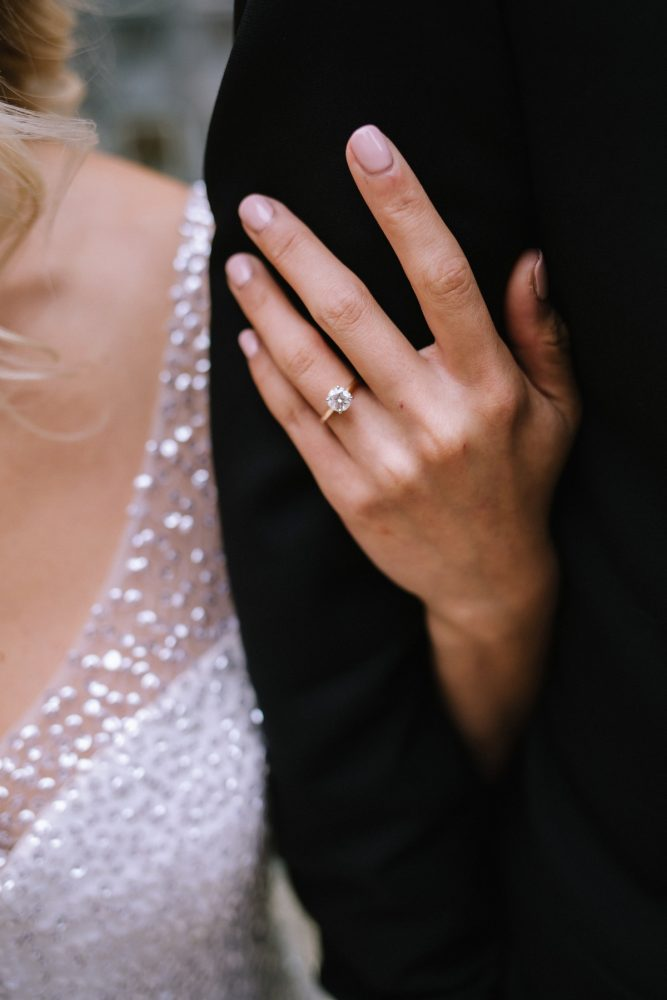Round Diamond Engagement Ring: Blue & Gold Literary Inspired Wedding Styled Shoot from Kaitlin Powell Photography and Exhale Events featured on Burgh Brides