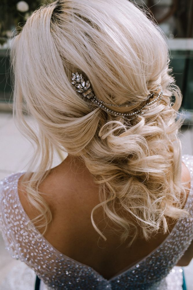 Soft Bridal Hair with Silver Rhinestone Boho Hairpiece: Blue & Gold Literary Inspired Wedding Styled Shoot from Kaitlin Powell Photography and Exhale Events featured on Burgh Brides