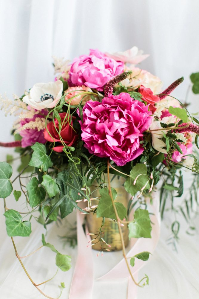 Bright Pink Bridal Wedding Day Bouquet: Bright Vintage Inspired Wedding from Lauren Renee Designs featured on Burgh Brides