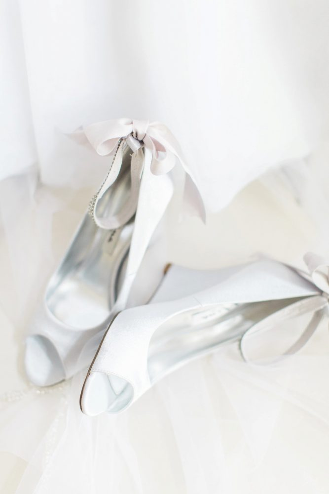 Peep Toe Bow White Wedding Day Bridal Shoes: Bright Vintage Inspired Wedding from Lauren Renee Designs featured on Burgh Brides