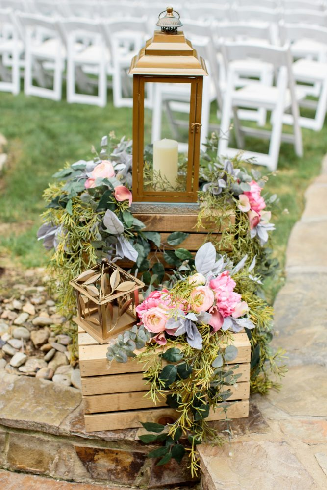 Wedding Ceremony Decor Ideas Lanterns & Flowers & Wooden Crates: Bright Vintage Inspired Wedding from Lauren Renee Designs featured on Burgh Brides