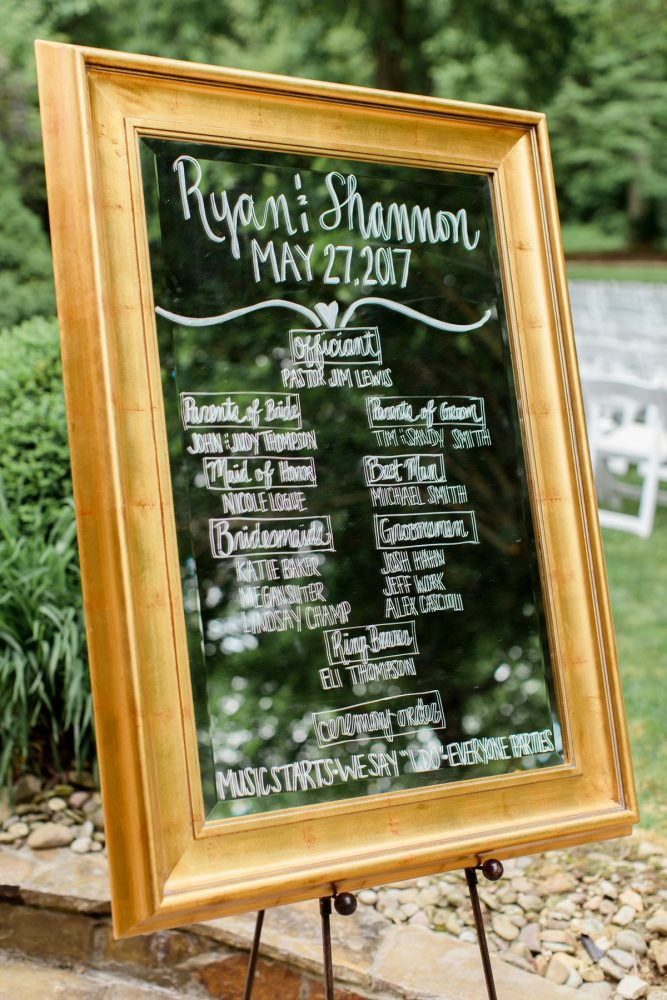Mirror Wedding Ceremony Signs: Bright Vintage Inspired Wedding from Lauren Renee Designs featured on Burgh Brides
