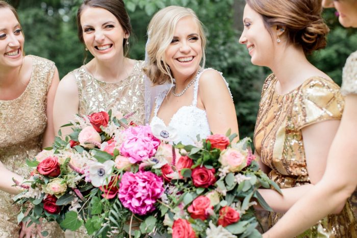 Pink Wedding Day Bouquets & Gold Sequin Bridesmaids Dresses: Bright Vintage Inspired Wedding from Lauren Renee Designs featured on Burgh Brides