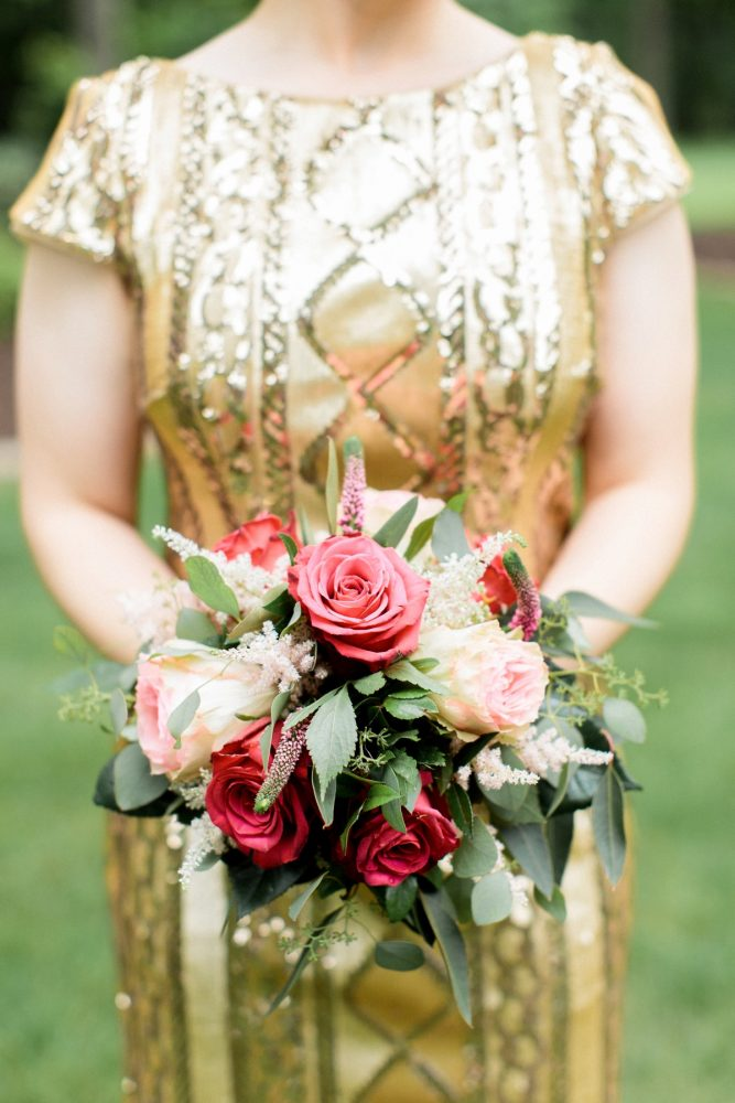 Gold Sequin Bridesmaids Dresses with Bright Pink Flowers: Bright Vintage Inspired Wedding from Lauren Renee Designs featured on Burgh Brides