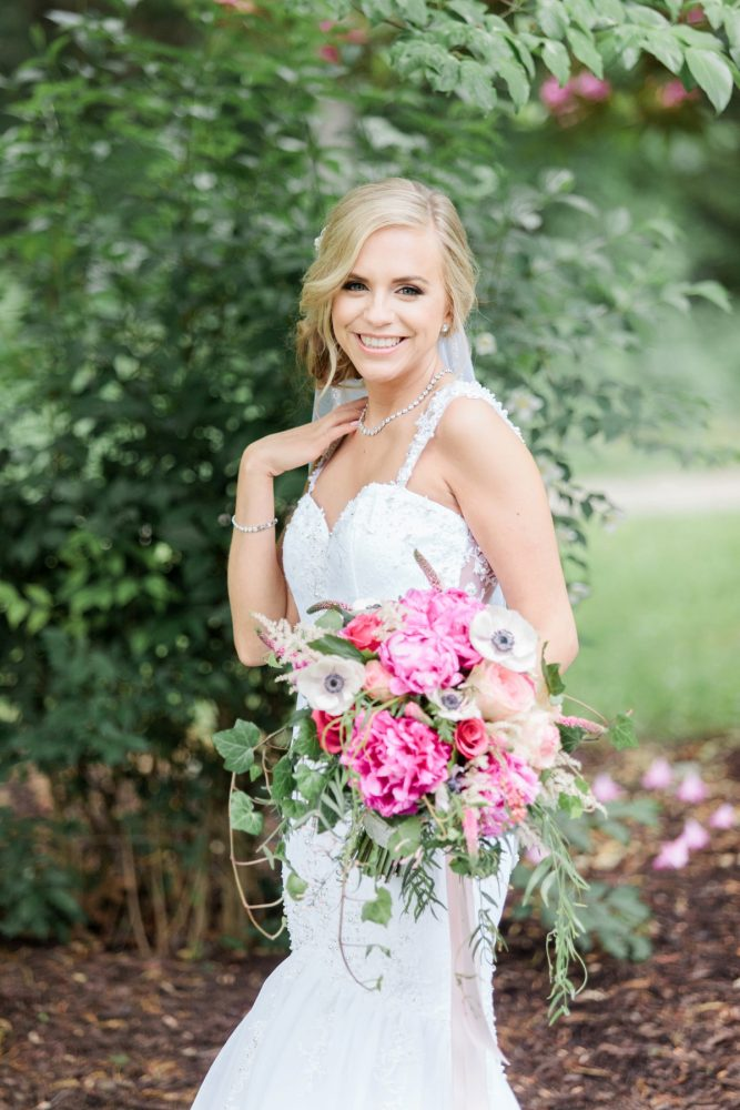Bright Pink Bridal Bouquet: Bright Vintage Inspired Wedding from Lauren Renee Designs featured on Burgh Brides