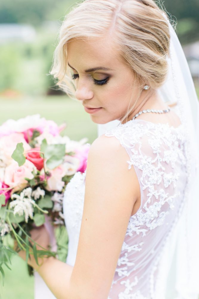 Lace Back Wedding Dress: Bright Vintage Inspired Wedding from Lauren Renee Designs featured on Burgh Brides