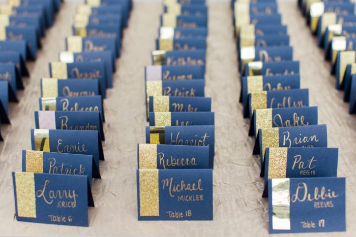 Glitter Wedding Day Escort Cards: Bright Vintage Inspired Wedding from Lauren Renee Designs featured on Burgh Brides