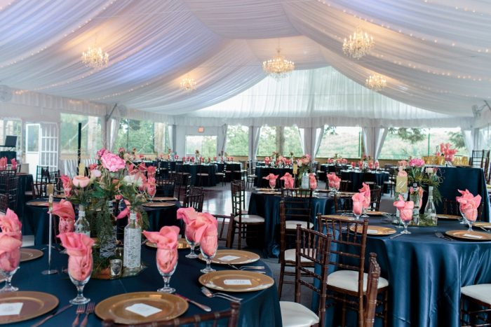 Pink and Blue Wedding Reception Decor: Bright Vintage Inspired Wedding from Lauren Renee Designs featured on Burgh Brides