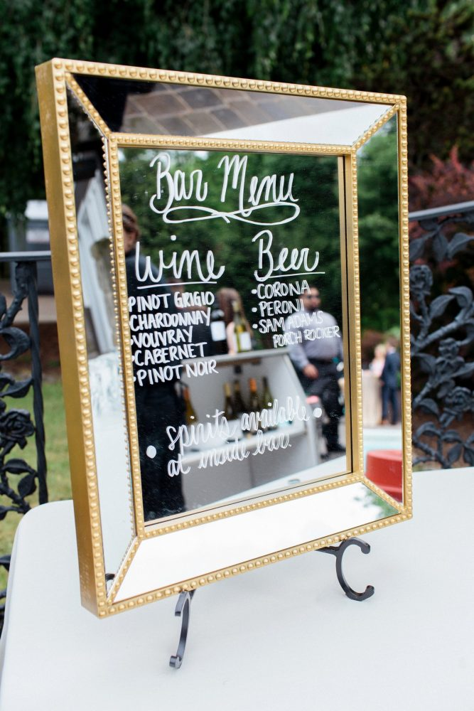 Mirror Wedding Bar Sign: Bright Vintage Inspired Wedding from Lauren Renee Designs featured on Burgh Brides