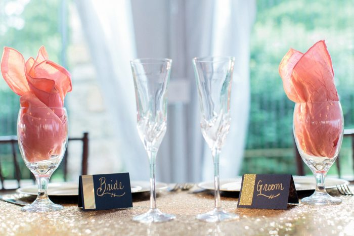 Bride and Groom Wedding Day Champagne Toasting Flutes: Bright Vintage Inspired Wedding from Lauren Renee Designs featured on Burgh Brides