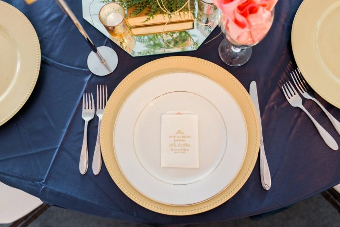 Blue and Gold Wedding Decor Tablescape Place Settings: Bright Vintage Inspired Wedding from Lauren Renee Designs featured on Burgh Brides