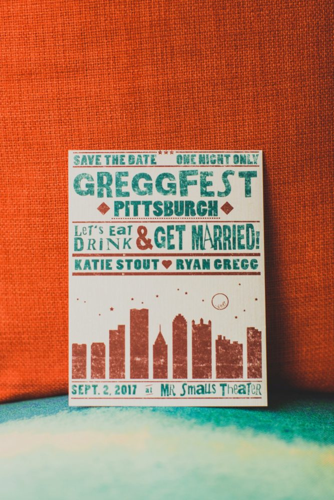 Music Inspired Wedding Save the Date: Fun Music Inspired Wedding from Ryan Zarichnak Photography featured on Burgh Brides