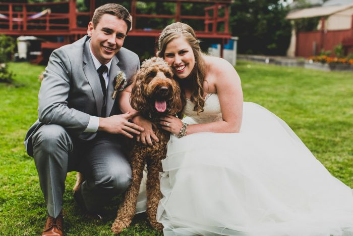 Bride and Groom Take Wedding Day Photos with Their Dog: Fun Music Inspired Wedding from Ryan Zarichnak Photography featured on Burgh Brides