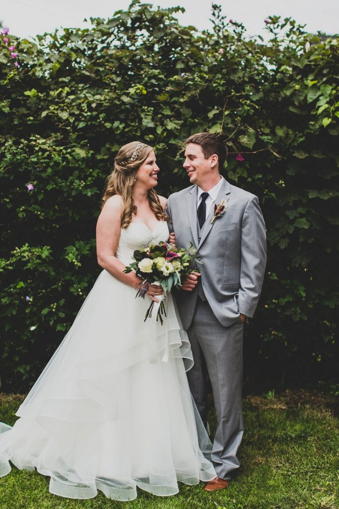 Groom in Gray Tuxedo Taking Wedding Day Portraits with Bride: Fun Music Inspired Wedding from Ryan Zarichnak Photography featured on Burgh Brides