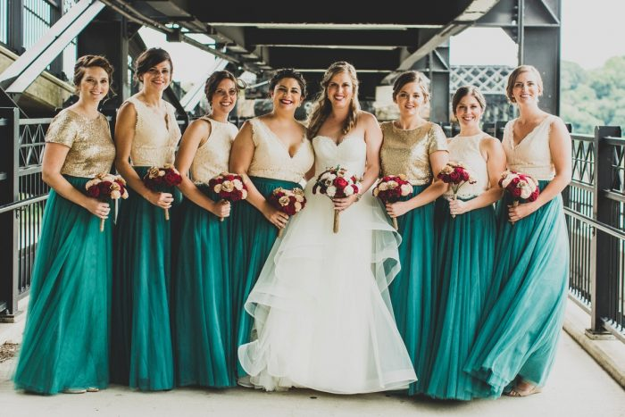 Teal Bridesmaids Dresses with Gold Sequins: Fun Music Inspired Wedding from Ryan Zarichnak Photography featured on Burgh Brides