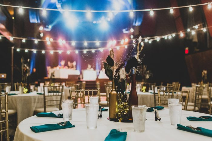 Theatre Wedding Set Up with Bistro Lights: Fun Music Inspired Wedding from Ryan Zarichnak Photography featured on Burgh Brides