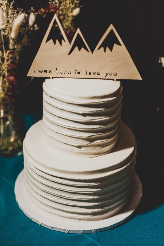 Buttercream Wedding Cake with Laser Cut Wooden Cake Topper: Fun Music Inspired Wedding from Ryan Zarichnak Photography featured on Burgh Brides