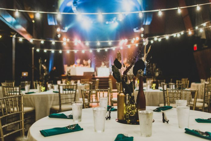 Theatre Wedding Set Up with Hanging Bistro Lights: Fun Music Inspired Wedding from Ryan Zarichnak Photography featured on Burgh Brides