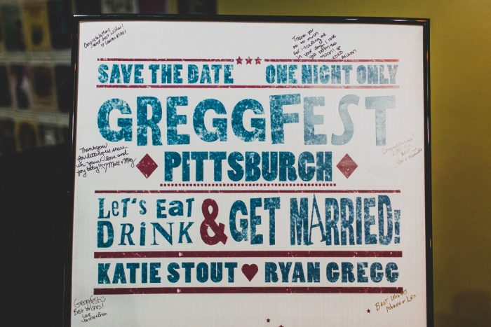 Music Inspired Wedding Welcome Sign: Fun Music Inspired Wedding from Ryan Zarichnak Photography featured on Burgh Brides