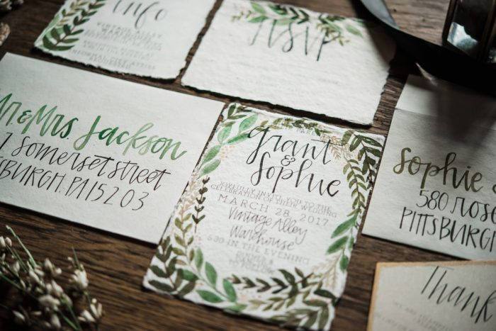 Greenery Inspired Handpainted Calligraphy Wedding Invitations: Green & White Spring Inspired Wedding Styled Shoot from Dawn Derbyshire Photography featured on Burgh Brides