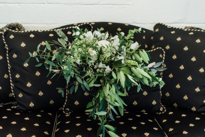 Green & White Wedding Bridal Bouquet: Green & White Spring Inspired Wedding Styled Shoot from Dawn Derbyshire Photography featured on Burgh Brides