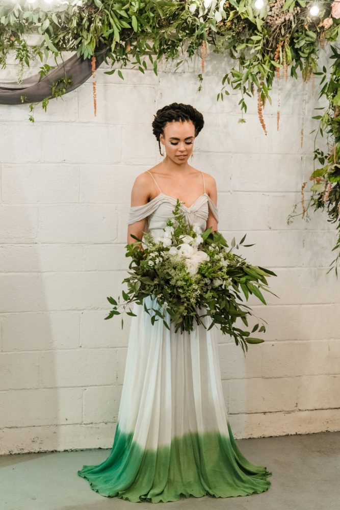 Green Ombre Dip Dyed Wedding Dress: Green & White Spring Inspired Wedding Styled Shoot from Dawn Derbyshire Photography featured on Burgh Brides