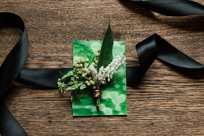 Green & White Groom Wedding Day Boutonniere: Green & White Spring Inspired Wedding Styled Shoot from Dawn Derbyshire Photography featured on Burgh Brides