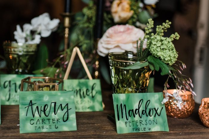Green Handpainted Calligraphy Wedding Escort Cards: Green & White Spring Inspired Wedding Styled Shoot from Dawn Derbyshire Photography featured on Burgh Brides