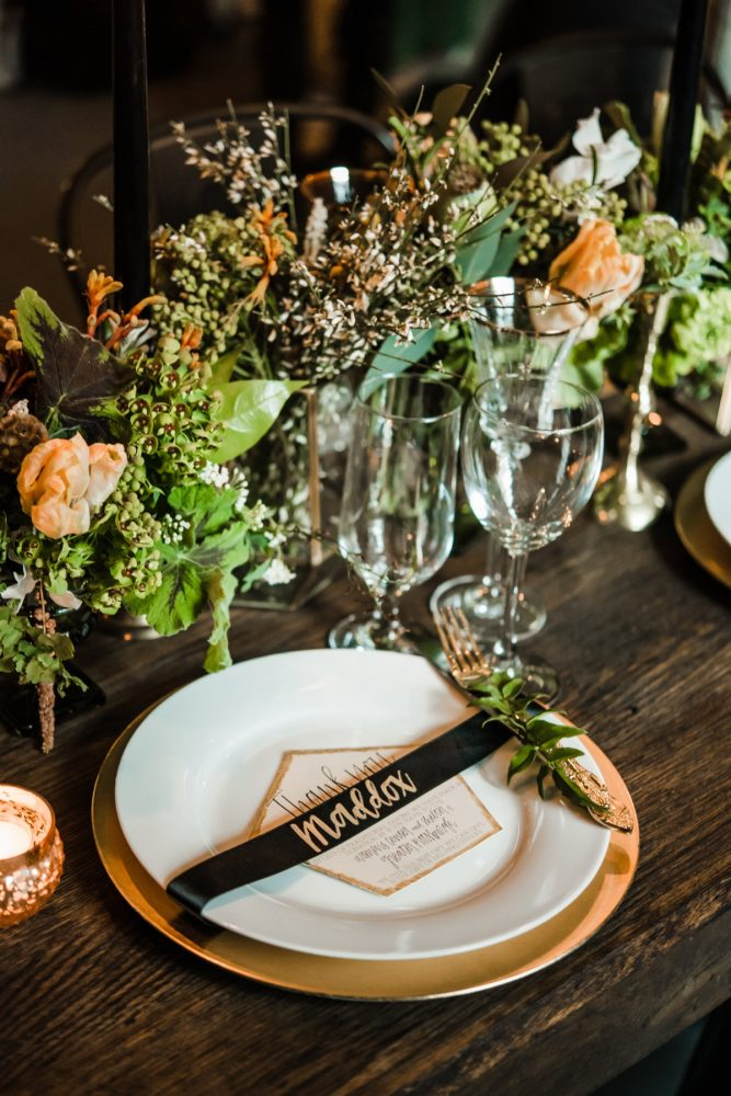 Green, White, & Gold Wedding Reception Tablescape Place Setting: Green & White Spring Inspired Wedding Styled Shoot from Dawn Derbyshire Photography featured on Burgh Brides
