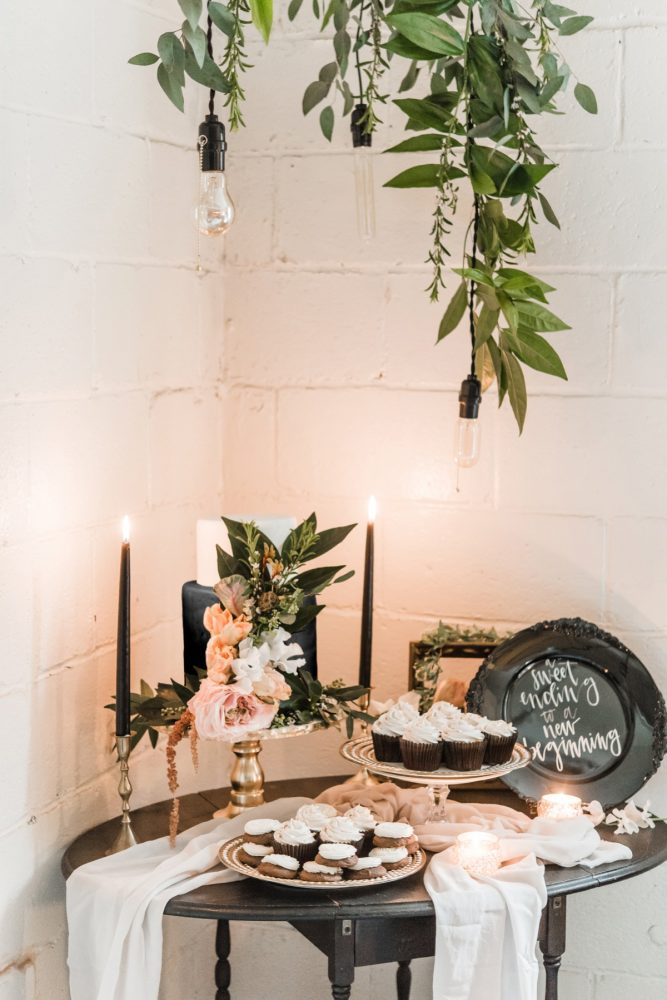 Industrial Chic Wedding Cake Table Setup: Green & White Spring Inspired Wedding Styled Shoot from Dawn Derbyshire Photography featured on Burgh Brides