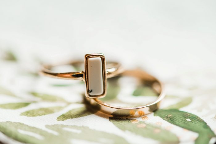 Gold & White Engagement Ring: Green & White Spring Inspired Wedding Styled Shoot from Dawn Derbyshire Photography featured on Burgh Brides