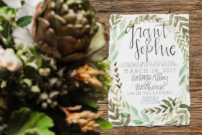Green & White Handpainted Calligraphy Wedding Day Invitations: Green & White Spring Inspired Wedding Styled Shoot from Dawn Derbyshire Photography featured on Burgh Brides