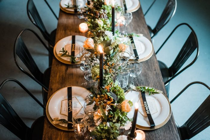 Green, White, & Gold Industrial Chic Wedding Reception Tablescape Ideas: Green & White Spring Inspired Wedding Styled Shoot from Dawn Derbyshire Photography featured on Burgh Brides