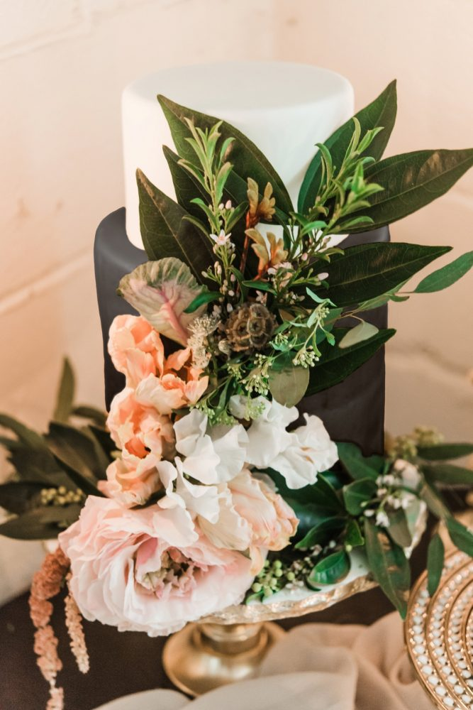 Black Wedding Cake Ideas: Green & White Spring Inspired Wedding Styled Shoot from Dawn Derbyshire Photography featured on Burgh Brides