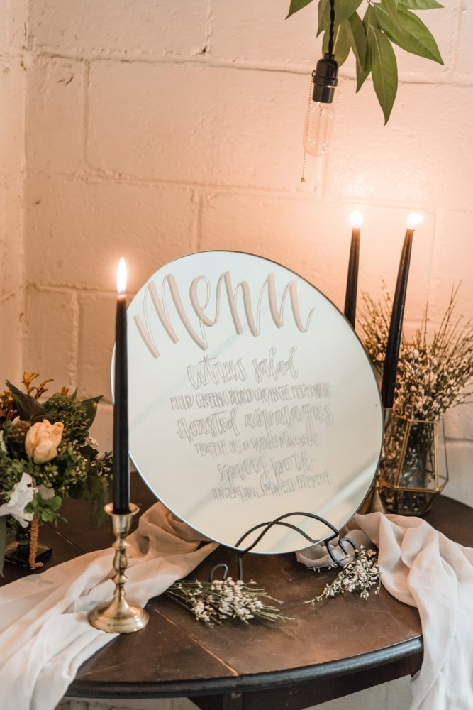 Mirror Wedding Menu Signs: Green & White Spring Inspired Wedding Styled Shoot from Dawn Derbyshire Photography featured on Burgh Brides