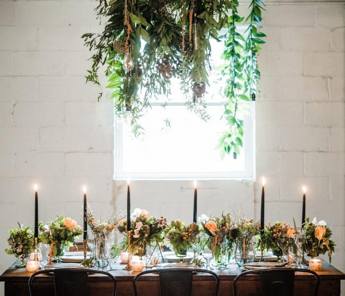 Industrial Chic Wedding Day Tablescape Ideas: Green & White Spring Inspired Wedding Styled Shoot from Dawn Derbyshire Photography featured on Burgh Brides