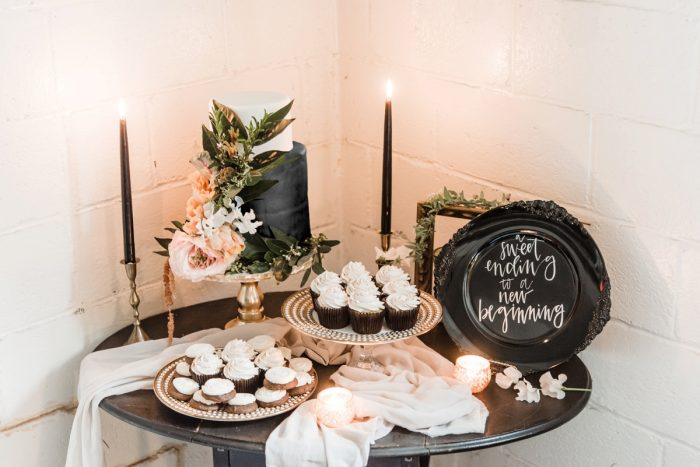 Industrial Chic Wedding Day Cake Table Ideas: Green & White Spring Inspired Wedding Styled Shoot from Dawn Derbyshire Photography featured on Burgh Brides