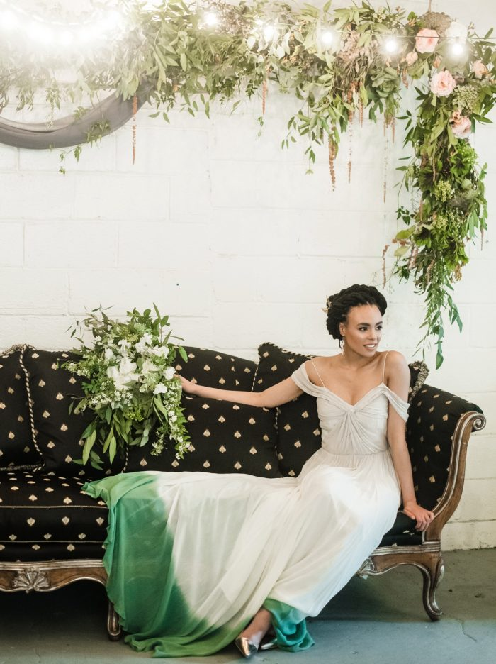 Green Ombre Dip Dye Wedding Dress for Alternative Bride: Green & White Spring Inspired Wedding Styled Shoot from Dawn Derbyshire Photography featured on Burgh Brides