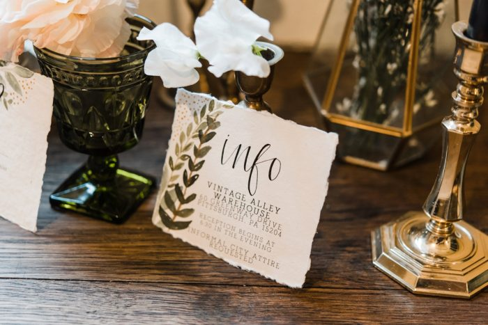 Green & White Handpainted Calligraphy Wedding Day Stationery: Green & White Spring Inspired Wedding Styled Shoot from Dawn Derbyshire Photography featured on Burgh Brides