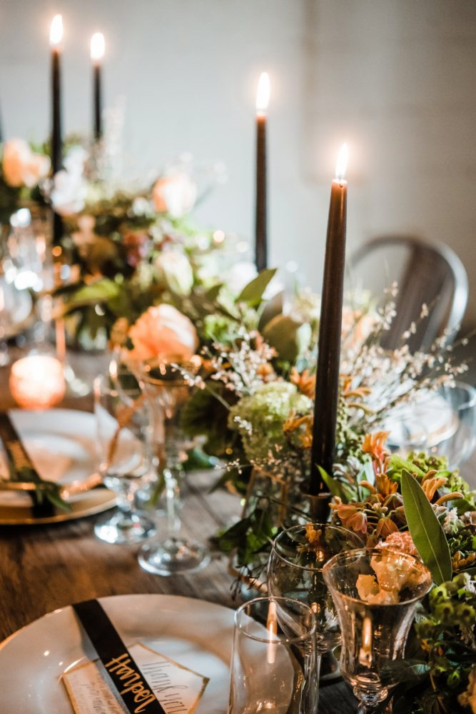 Greenery Table Runner Wedding Centerpieces: Green & White Spring Inspired Wedding Styled Shoot from Dawn Derbyshire Photography featured on Burgh Brides